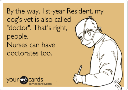 """By the way, 1st-year Resident, my dog's vet is also called """"doctor"""". That's right, people.  Nurses can have  doctorates too."""