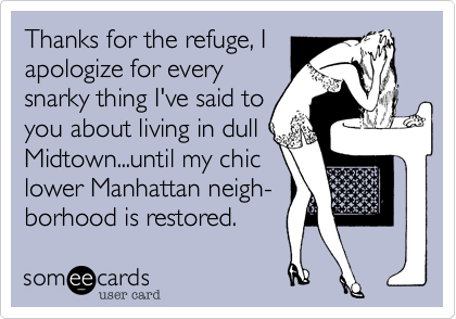 Thanks for the refuge%2C I apologize for every  snarky thing I've said to  you about living in dull Midtown...until my chic lower Manhattan neigh- borhood is restored.