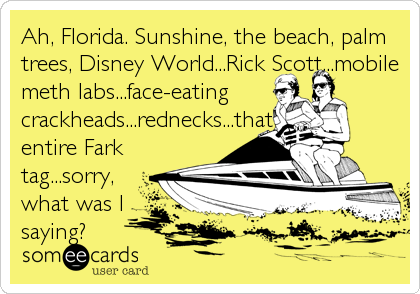Ah, Florida. Sunshine, the beach, palm trees, Disney World...Rick Scott...mobile meth labs...face-eating crackheads...rednecks...that entire Fark tag...sorry, what was I   saying?