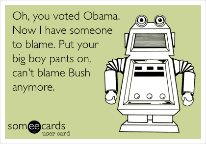 Oh, you voted Obama. Now I have someone to blame. Put your big boy pants on, can't blame Bush anymore.