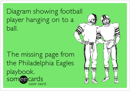 Diagram showing football player hanging on to a ball.   The missing page from  the Philadelphia Eagles  playbook.