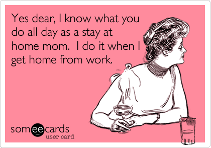 Yes dear, I know what you do all day as a stay at home mom.  I do it when I get home from work.