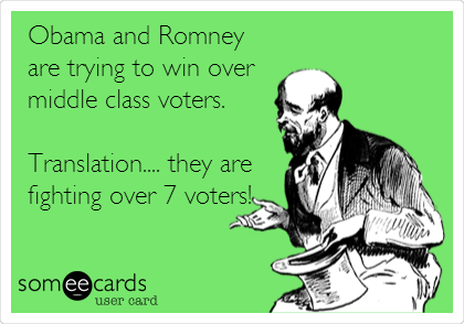 Obama and Romney are trying to win over middle class voters.  Translation.... they are fighting over 7 voters!