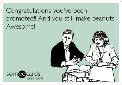 Congratulations you've been promoted!! And you still make peanuts! Awesome!