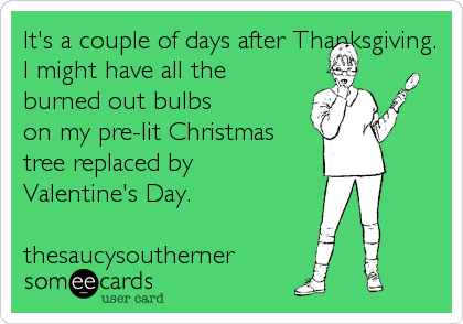It's a couple of days after Thanksgiving. I might have all the burned out bulbs on my pre-lit Christmas tree replaced by Valentine's Day.     thesaucysoutherner