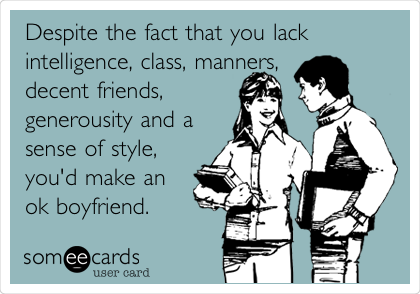 Despite the fact that you lack intelligence, class, manners, decent friends, generousity and a sense of style, you'd make an ok boyfriend.