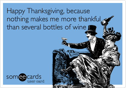 Happy Thanksgiving%2C because nothing makes me more thankful than several bottles of wine!