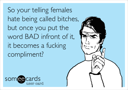 So your telling females hate being called bitches, but once you put the word BAD infront of it,  it becomes a fucking compliment?