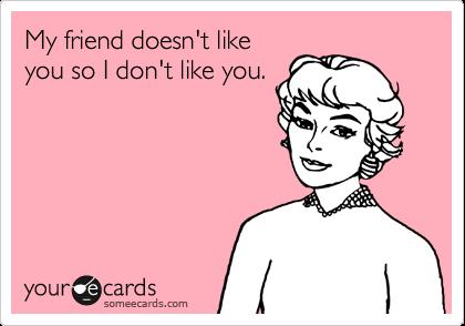 My friend doesn't like you so I don't like you.