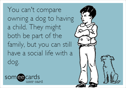 You can't compare owning a dog to having a child. They might both be part of the family, but you can still have a social life with a dog.