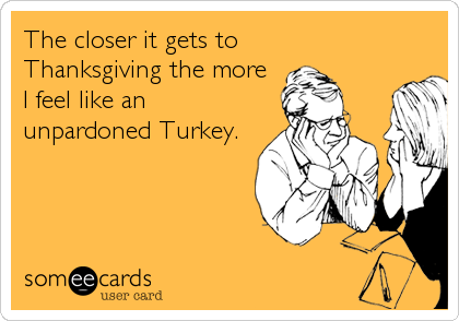 The closer it gets to Thanksgiving the more I feel like an unpardoned Turkey.