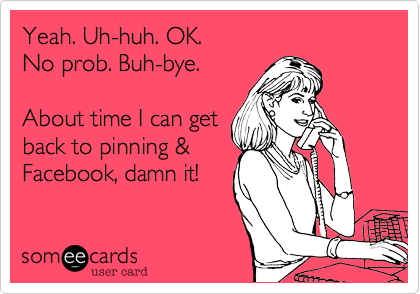 Yeah. Uh-huh. OK. No prob. Buh-bye.  About time I can get back to pinning %26 Facebook%2C damn it!