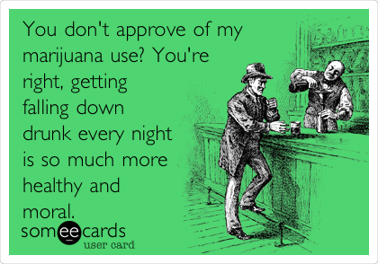 You don't approve of my marijuana use? You're right, getting falling down drunk every night is so much more healthy and moral.