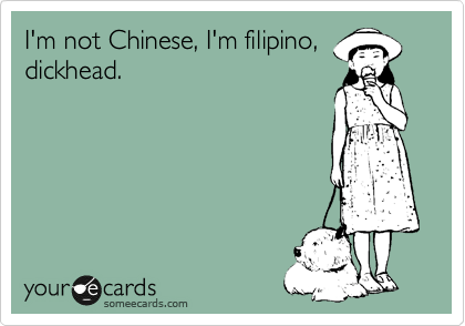 I'm not Chinese, I'm filipino, dickhead.