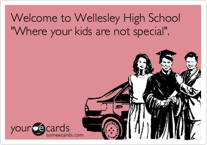 """Welcome to Wellesley High School """"Were your kids are not special""""."""