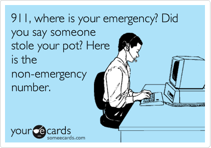 911, where is your emergency? Did you say someone stole your pot? Here is the non-emergency number.