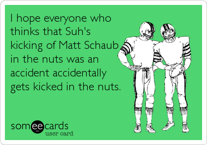 I hope everyone who thinks that Suh's kicking of Matt Schaub in the nuts was an accident accidentally  gets kicked in the nuts.