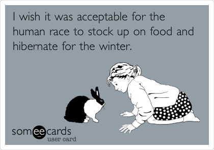 I wish it was acceptable for the human race to stock up on food and hibernate for the winter.