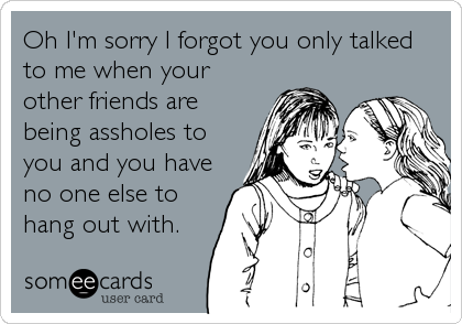 Oh I'm sorry I forgot you only talked to me when your other friends are being assholes to you and you have no one else to hang out with.