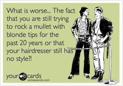 What is worse... The fact that you are still trying to rock a mullet with blonde tips for the past 20 years or 20 years or that your hairdresser still has no style?!