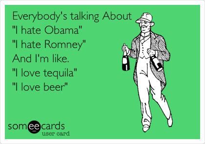 "Everybody's talking About  ""I hate Obama""  ""I hate Romney""  And I'm like.  ""I love tequila"" ""I love beer"""