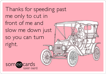 Thanks for speeding past me only to cut in front of me and slow me down just so you can turn right.