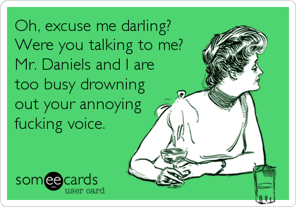 Oh, excuse me darling? Were you talking to me? Mr. Daniels and I are too busy drowning out your annoying fucking voice.