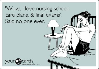 """""""Wow, I love nursing school, care plans, & final exams"""".  Said no one ever."""
