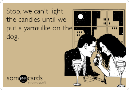 Stop, we can't light the candles until we put a yarmulke on the dog.