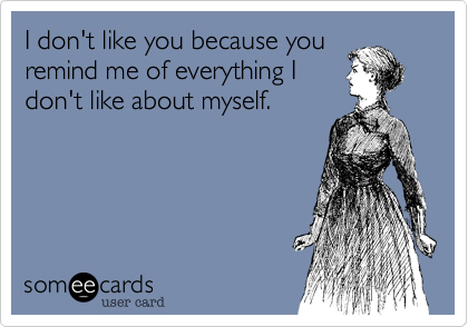I don't like you because you remind me of everything I don't like about myself.