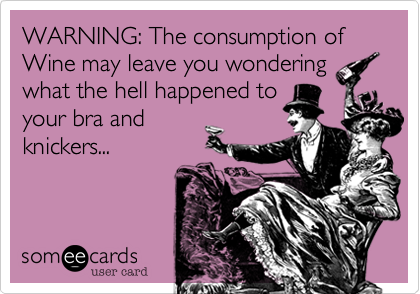 WARNING: The consumption of Wine may leave you wondering what the hell happened to your bra and knickers...
