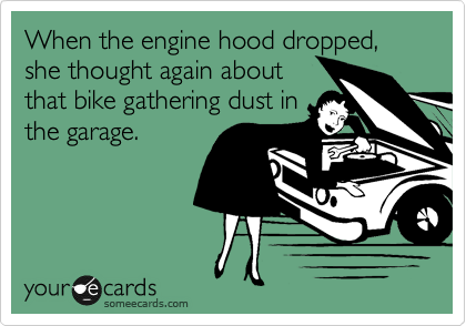 When the engine hood dropped, she thought again about
