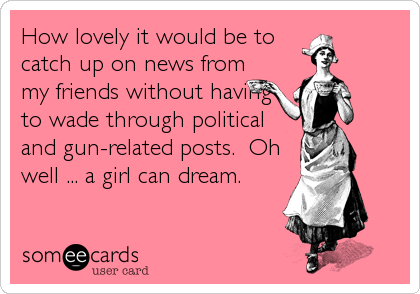 How lovely it would be to catch up on news from my friends without having to wade through political and gun-related posts.  Oh well ... a girl can dream.