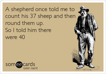 A shepherd once told me to