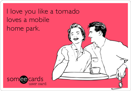 I love you like a tornado loves a mobile home park.
