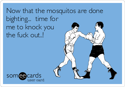 Now that the mosquitos are done bighting...  time for me to knock you the fuck out..!