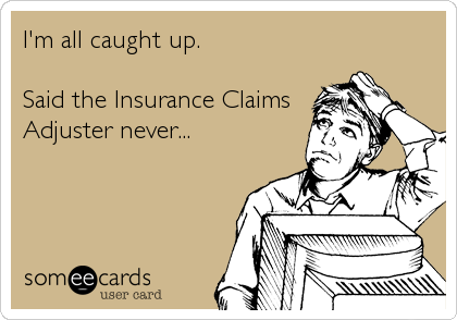 I'm all caught up.  Said the Insurance Claims Adjuster never...