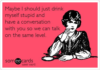 Maybe I should just drink   myself stupid and  have a conversation with you so we can talk on the same level.