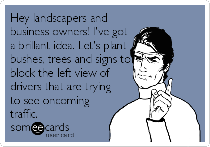 Hey landscapers and business owners! I've got a brillant idea. Let's plant bushes, trees and signs to block the left view of drivers that are trying to see oncoming traffic.