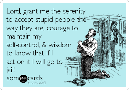 Lord, grant me the serenity to accept stupid people the way they are, courage to maintain my self-control, & wisdom to know that if I act on it I will go to  jail!
