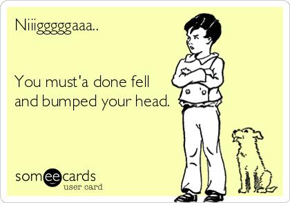 Niiigggggaaa..   You must'a done fell and bumped your head.