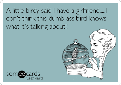 A little birdy said I have a girlfriend.....I don't think this dumb ass bird knows what it's talking about!!
