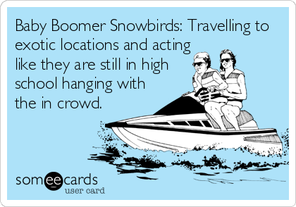Baby Boomer Snowbirds: Travelling to exotic locations and acting like they are still in high school hanging with the in crowd.