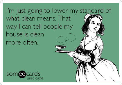 I'm just going to lower my standard of what clean means. That way I can tell people my house is clean more often.