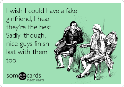 I wish I could have a fake girlfriend, I hear they're the best. Sadly, though, nice guys finish last with them too.