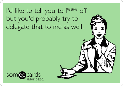 I'd like to tell you to f*** off but you'd probably try to delegate that to me as well.