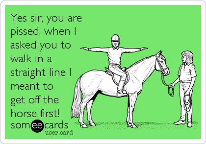 Yes sir, you are pissed, when I asked you to walk in a straight line I meant to get off the horse first!