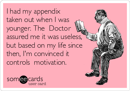 I had my appendix taken out when I was younger. The  Doctor assured me it was useless, but based on my life since then, I'm convinced it  controls  motivation.