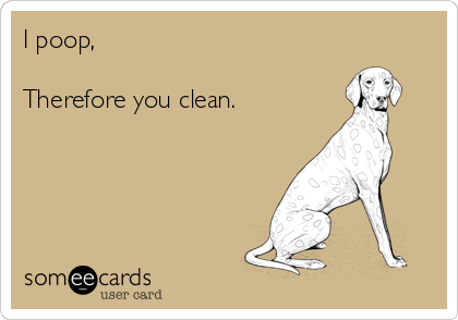 I poop,  Therefore you clean.