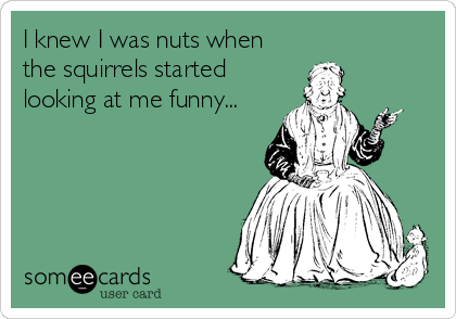 I knew I was nuts when the squirrels started looking at me funny...